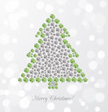 Greeting card with Christmas tree made of jewels Stock Image