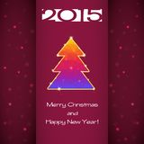 Greeting card with Christmas tree and snowflakes Royalty Free Stock Photo