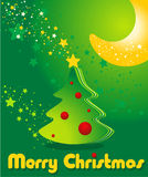 Greeting card with Christmas tree, stars and moon Stock Images