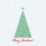 Greeting card with Christmas tree. Swirl background. Stock Image
