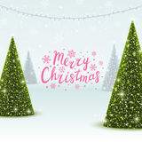 Greeting card with Christmas trees. Greeting card with shiny Christmas trees Royalty Free Stock Image