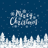 Greeting card with Christmas trees Stock Photos