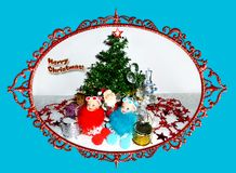Greeting card for Christmas. Two Snow Maiden dolls and Santa Claus near the Christmas tree vector illustration