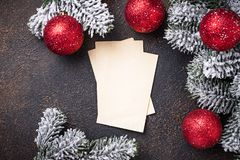 Empty greeting card for Christmas wishes. Greeting card for Christmas wishes. Top view royalty free stock images