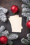 Empty greeting card for Christmas wishes. Greeting card for Christmas wishes. Top view stock photo