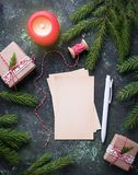 Greeting card for Christmas wishes. Top view Stock Images