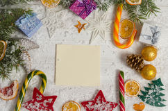 Greeting card for Christmas on wooden top Royalty Free Stock Image