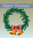 Greeting card for Christmas with a wreath and bells. Vector Royalty Free Stock Images