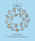 Greeting card with Christmas wreath Stock Photos