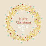 Greeting card with Christmas wreath Stock Photos