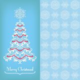 Greeting card with Christmass tree, blue Royalty Free Stock Images