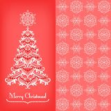 Greeting card with Christmass tree, red Stock Photo