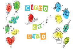 Greeting card of the Cinco de Mayo Day. Fingerprint Art collection of prints of fingers and paint the outlines of characters of humans and animals. Vector Stock Photo