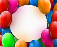 Greeting card with circle frame and lot of colorful balloons. Happy birthday. Vector illustration Royalty Free Stock Image