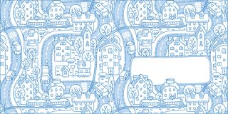 Greeting card with city pattern and a window for text. Square double-sided greeting card with a  picture of the city with streets and houses with trees and roofs Royalty Free Stock Photo