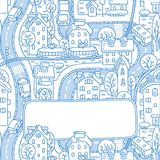 Greeting card with city pattern and a window for text. Square greeting card with a  picture of the city with streets and houses with trees and roofs and a window Royalty Free Stock Photography