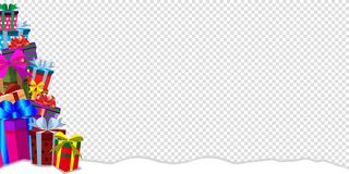 Greeting card clip art banner with heap of gifts on snowdrift and transparent background. Festive holiday background with gifts in traditional holiday style royalty free illustration