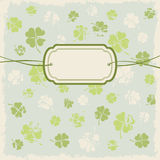 Greeting card with clover leafs Stock Photo