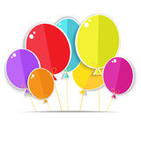Greeting card with a color balloons. Stock Images