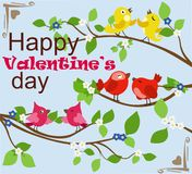 Greeting card with color birds. Vector illustration. Bright picture with birds and flowering branches with a sign on the day of Valentine Royalty Free Stock Photo
