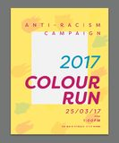 Greeting card with 2017 color run text Royalty Free Stock Images