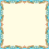 Greeting card with color swirl frame. Greeting card with ornamental swirl color floral frame on the white background, vector illustration Stock Photography