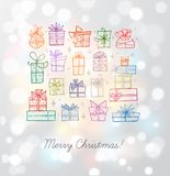 Greeting card with colored christmas doodle gift boxes