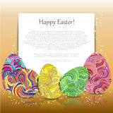 Greeting card with colored Easter eggs on a reflective surface. Beautiful background for Easter. Eps 10 Stock Images