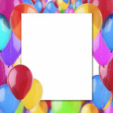 Frame of colorful balloons. Greeting card with colorful balloons Stock Photo