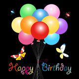 Greeting card with colorful balloons Stock Photos