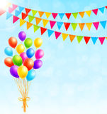 Greeting card with colorful balloons and flags. Vector Royalty Free Stock Images