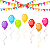 Greeting card with colorful balloons and flags vector Stock Photo