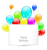 Greeting Card with Colorful Balloons for Happy Birthday Stock Photography