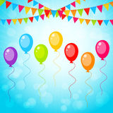 Greeting card with colorful balloons Royalty Free Stock Images