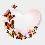 Greeting card with colorful butterflies and heart. Royalty Free Stock Photo
