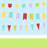 Greeting card with colorful childish bunting flags Stock Photos