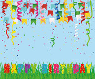 Greeting card with colorful flags and confetti and letters Happy Birthday Stock Photo