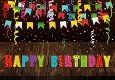 Greeting card with colorful flags and confetti and letters Happy. Birthday on wooden background. Copy space for text or advertising. Vector. Invitation to the Royalty Free Stock Photos