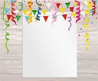Greeting card with colorful flags and confetti on wooden backgro. Und. Empty form for text or advertising. Vector. Invitation to the holiday Stock Photo