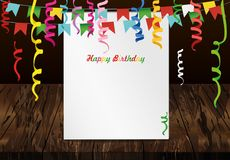 Greeting card with colorful flags and confetti on wooden backgro. Und. Empty form for text or advertising. Vector. Invitation to the holiday Stock Photos