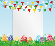 Greeting card with colorful flags and easter eggs and green grass. Free form for text or advertising. Vector. Invitation to the holiday Stock Images