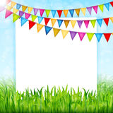 Greeting card with colorful flags and green grass background.  Stock Image