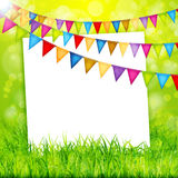 Greeting card with colorful flags and green grass background Royalty Free Stock Photography