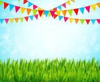 Greeting card with colorful flags and green grass Royalty Free Stock Images