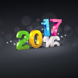 Greeting card 2017. Colorful 2017 New Year type over 2016 on a black background - 3D illustration Royalty Free Stock Photos
