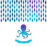 Greeting card with colorful octopus. And fishes Royalty Free Stock Photo