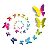 Greeting card with colorful paper butterflies in spiral Royalty Free Stock Image