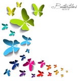 Greeting card with colorful paper butterflies on white backgroun Stock Images