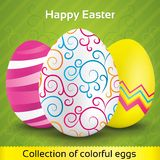 Greeting card with colorful textured eggs Royalty Free Stock Images