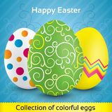 Greeting card with colorful textured eggs. Happy easter greeting card with colorful textured eggs (collection). Vector set of eggs (decoration). Pattern on eggs Vector Illustration